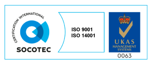 Certified SOCOTEC UK ISO-9001 and ISO-14001