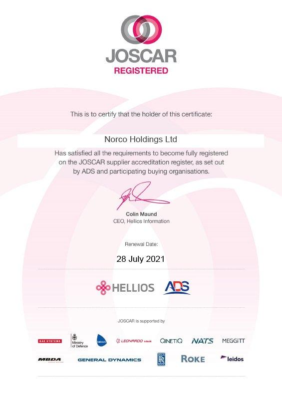 JOSCAR Certificate 2020 - NORCO Composites & GRP