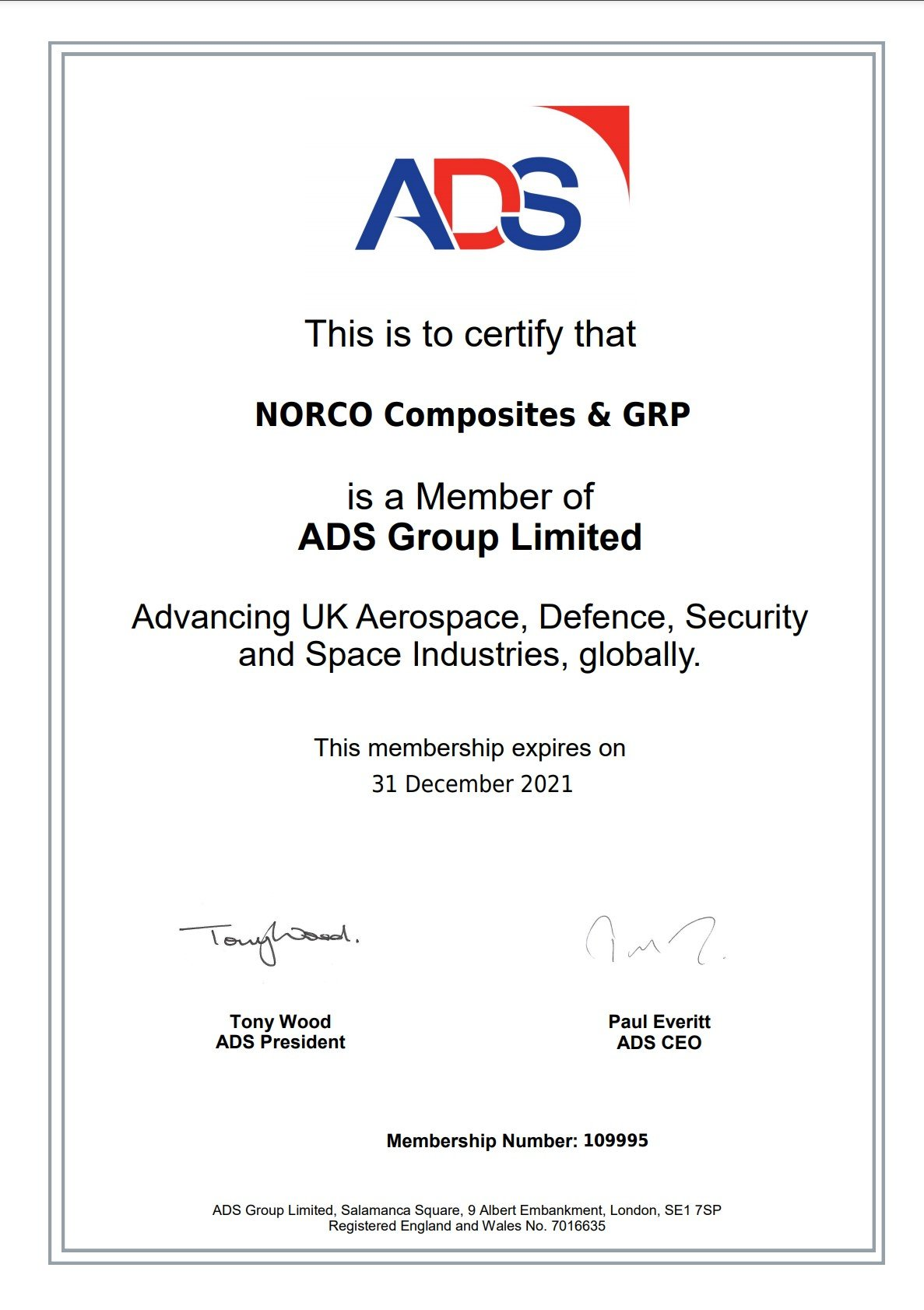ADS Group Certificate 2021 - NORCO Composites & GRP